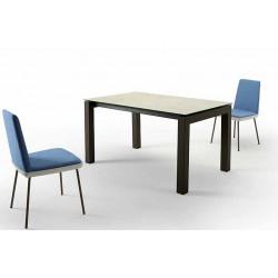TABLE MODERNE EN VERRE PLATINE
