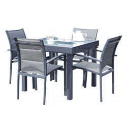 TABLE PATIO ALLONGE GRIS 3 TAILLES