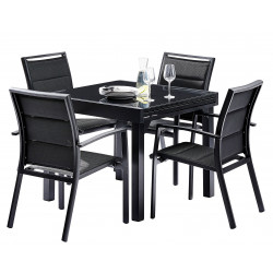 TABLE PATIO ALLONGE NOIR 3 TAILLES