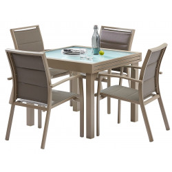 TABLE PATIO ALLONGE TAUPE 3 TAILLES
