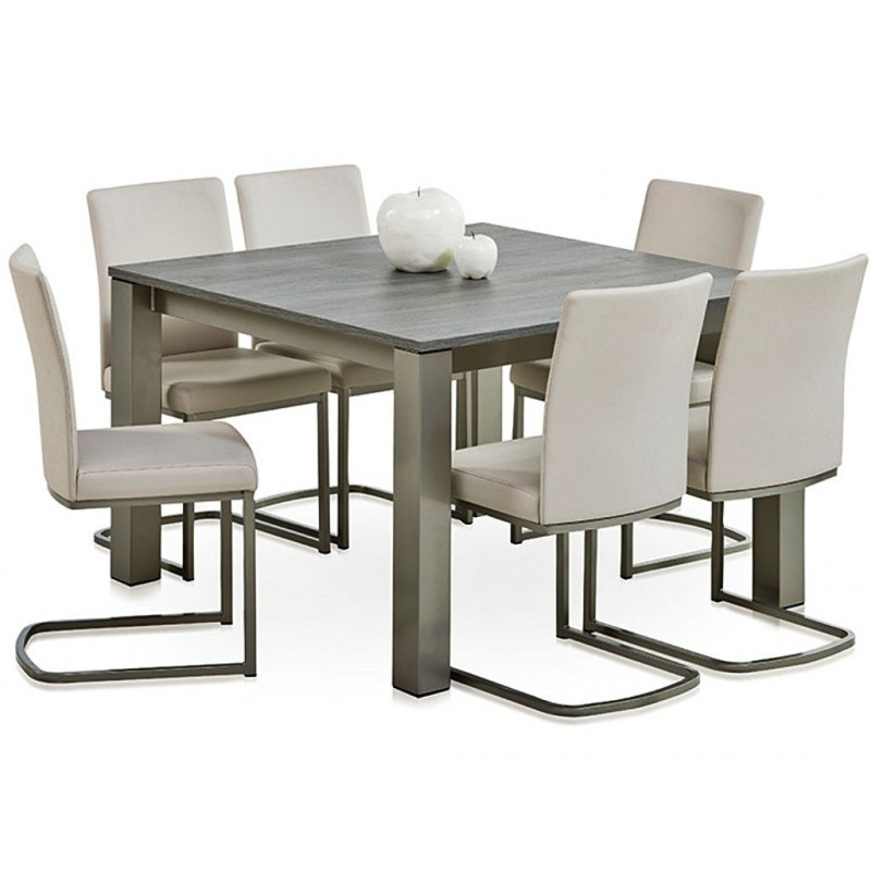 Table carr e stratifi e extensible vario for Table carree salle a manger avec rallonge