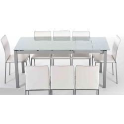TABLE EN VERRE AVEC ALLONGES