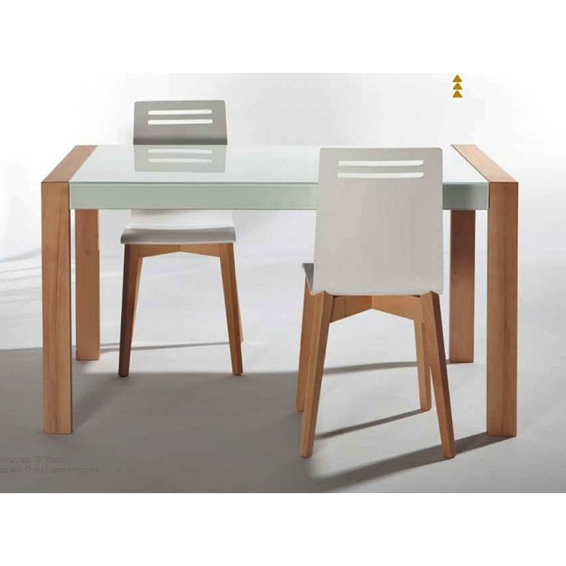Table de cuisine en verre extensible nova for Table cuisine en bois