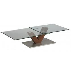 TABLE BASSE VERRE ET BOIS